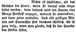 """""""Nichts ist schädlicher"""" als die Haare nach dem Waschen nicht einzuölen, schreibt Jakob Mayer 1830."""