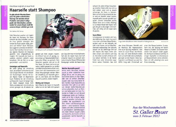 """""""Altes Wissen zeigt sich als neuer Trend: Haarseife statt Shampoo"""" aus der Wochenzeitschrift """"St. Galler Bauer"""" vom 3. Februar 2017. Zum Lesen oder downloaden bitte auf das Vorschaubild klicken."""