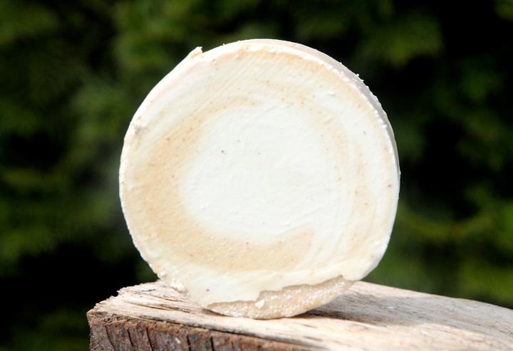 """Rein pflanzliche Bio-Aprikosen-Gesichtsseife mit Mandelöl und Sheabutter. Im Bild die """"Blockform rund""""."""