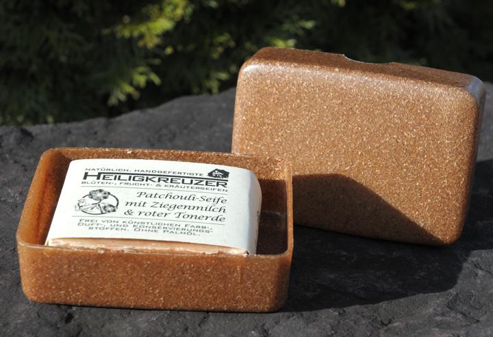 Seifendose aus Flüssigholz: Ein neuartiger Kunststoff aus Holz. Zu 100 Prozent biologisch abbaubar (Seife nicht enthalten).