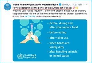 """Weltgesundheitsorganisation WHO: """"Unterschätze nie die Kraft eines einfachen Stücks Seife!"""""""