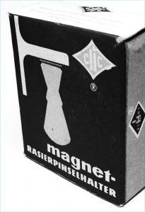 Historisches Beispiel für einen Magnet-Rasierseifenhalter aus einer Fabrik in Leipzig.