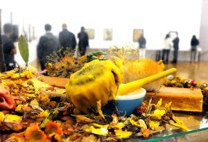 """Blick über ein Detail der Installation der Künstlerin Athena Vida bei der Vernissage der Ausstellung """"Parlament der Pflanzen"""" im Kunstmuseum Liechtenstein in Vaduz. Gut zu erkennen ist der quer liegende orangefarbene Seifenblock."""