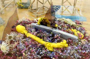 Der lila Seifenblock inmitten von farbigen Blüten. Bild: Athena Vida